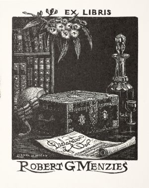 Book-plate for Robert G. Menzies, Lionel Lindsay